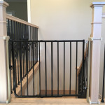 Black Toddler Safety Gate top of Stairs