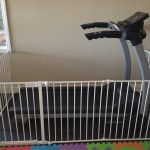 Custom sectional baby gate around exercise equipment