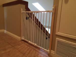 Closed Custom Top Of Stairs Safety Gate in Carlsbad CA
