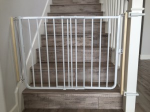 custom bottom of stairs baby safety gate with custom no holes banister clamps, Del Sur, CA