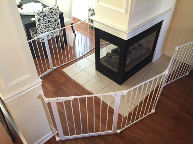 Baby Proofing in Rutherford New Jersey. Custom baby gate installation for fireplace and stairways. Child Safe sectional baby gates for extra wide areas