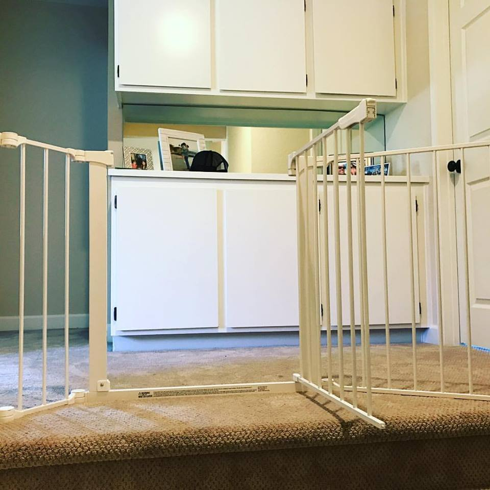 Custom extra wide sectional Baby Safety gate for top of stairs.