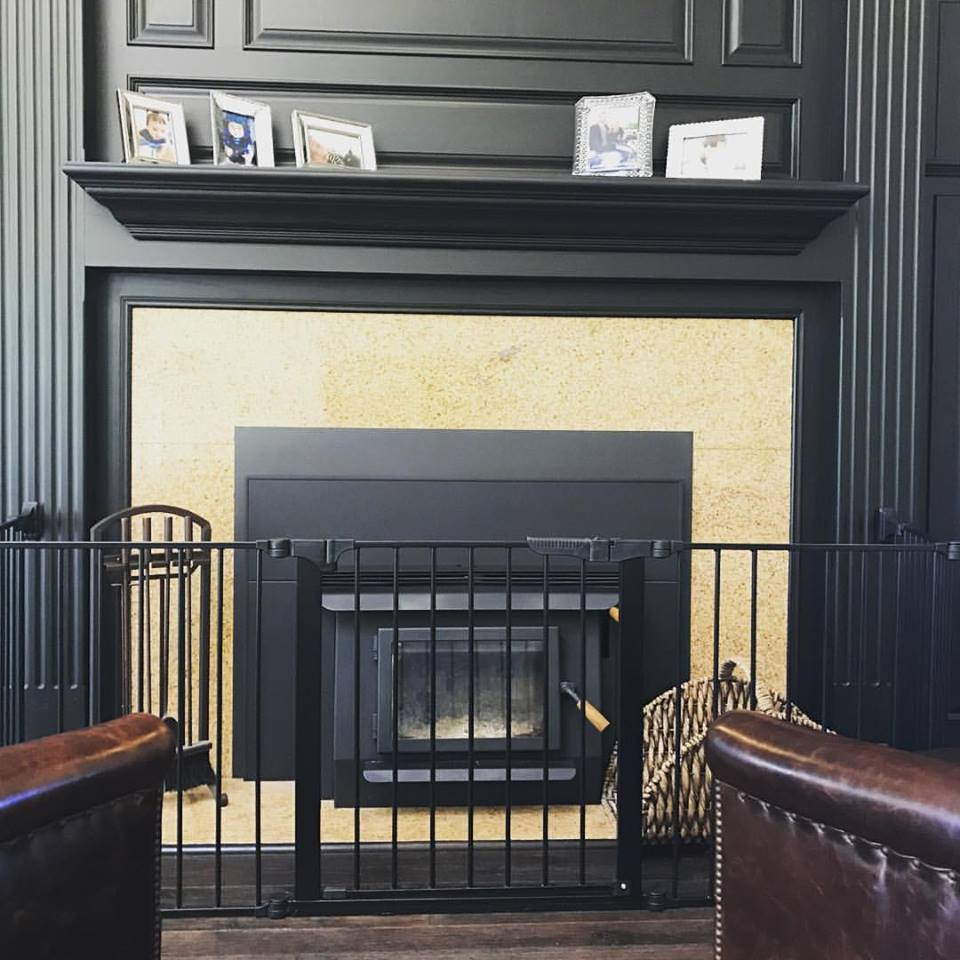 Child Safety Gate Placed Around Fireplace