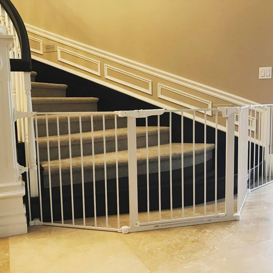 Custom extra wide child safety gate for bottom of stairs