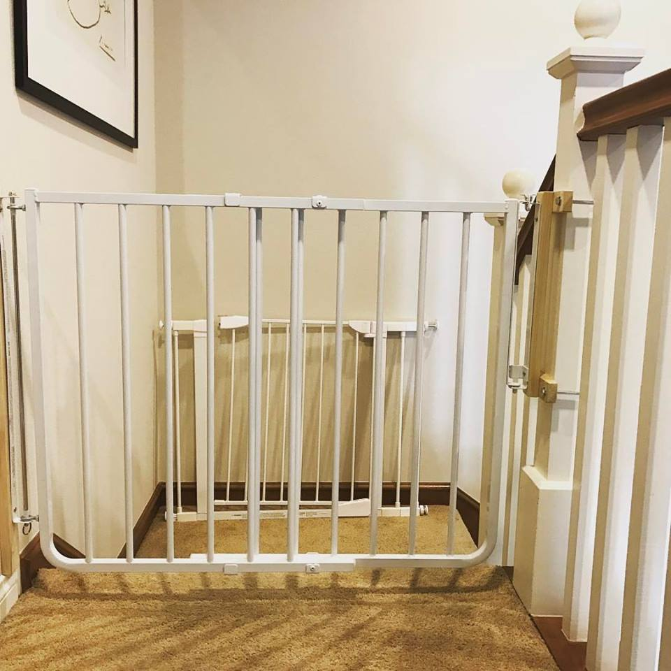 Baby safety gate for top of stairs