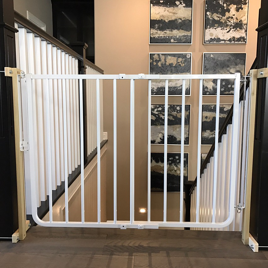 full swing gate at top of stairs both with no holes banister clamping system