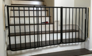 Extra wide black baby safety stair gate bottom stairs