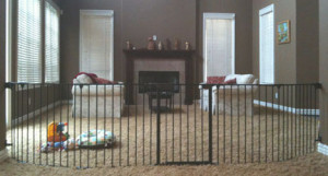 Custom child safety gate to divide room