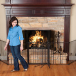 Large sectional baby gate around fireplace