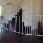Extra wide white section baby gate for bottom of stairs