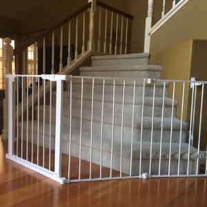 Custom bottom of stairs baby safety gate
